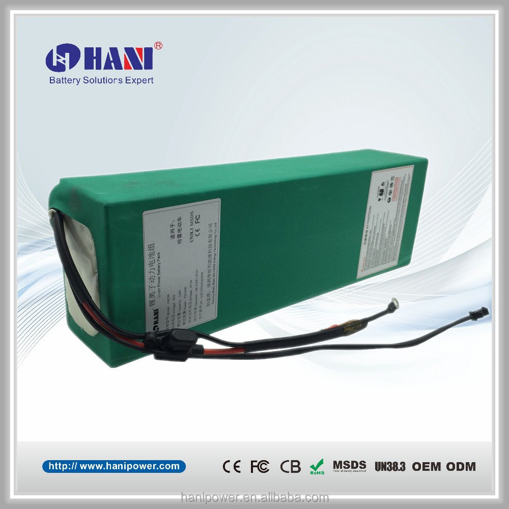 Customized Rechargeable 60V 12ah Li-ion 16S Lithium Battery Pack for 2 Wheels Electric Bike