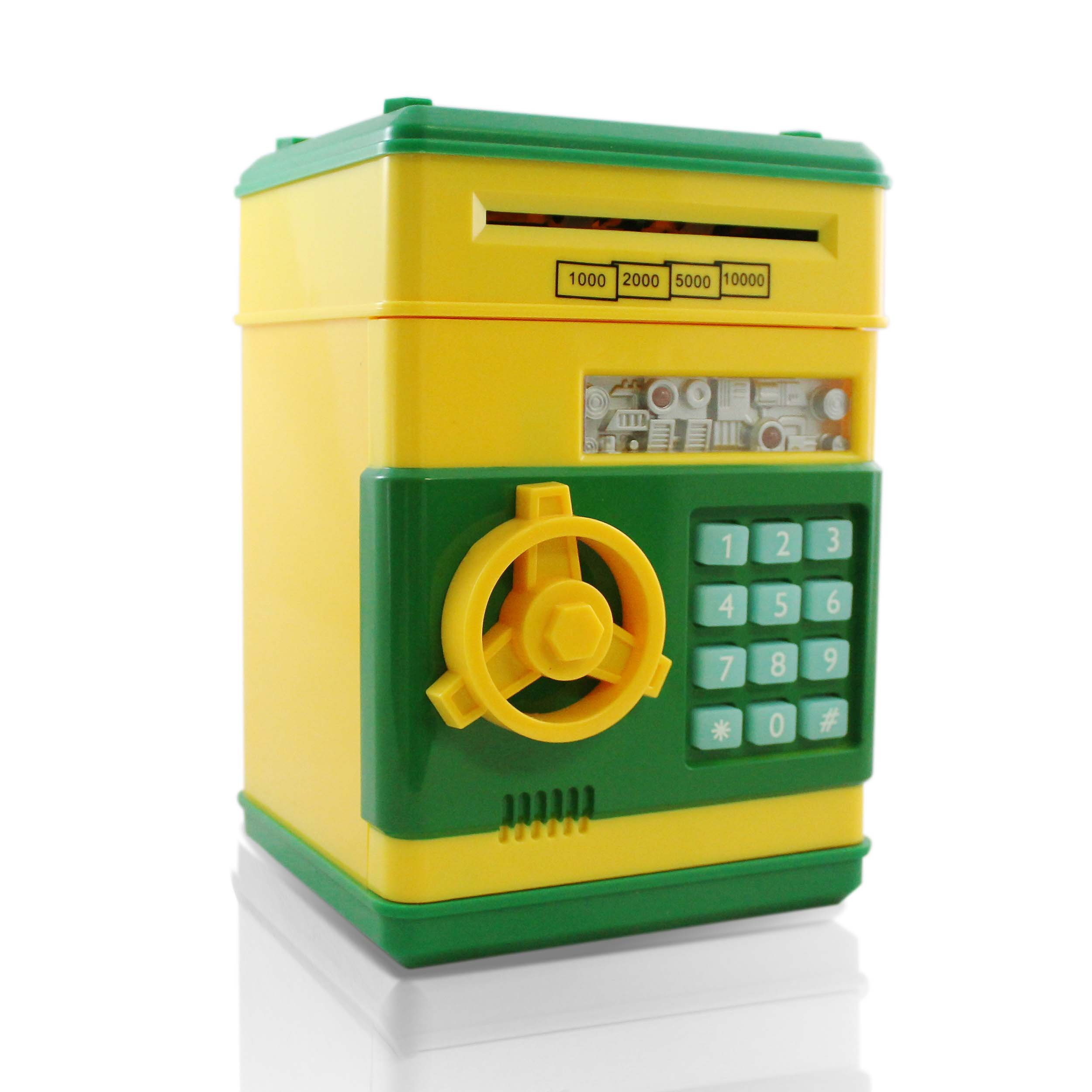 Yellow Green Safe Coin Bank For Kids - Authentic ATM Money Saver Keeps Cash, Toys, and Jewelry Safe Inside - Auto Insert Bills and Electronic Password - Cool Piggy Bank Makes A Great Birthday Gift