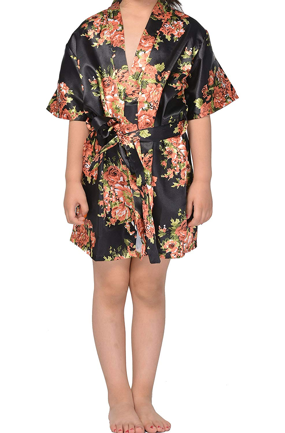 Get Quotations · Juntian Girls  Satin Floral Kimono Robe Sleepwear 4e58396d6