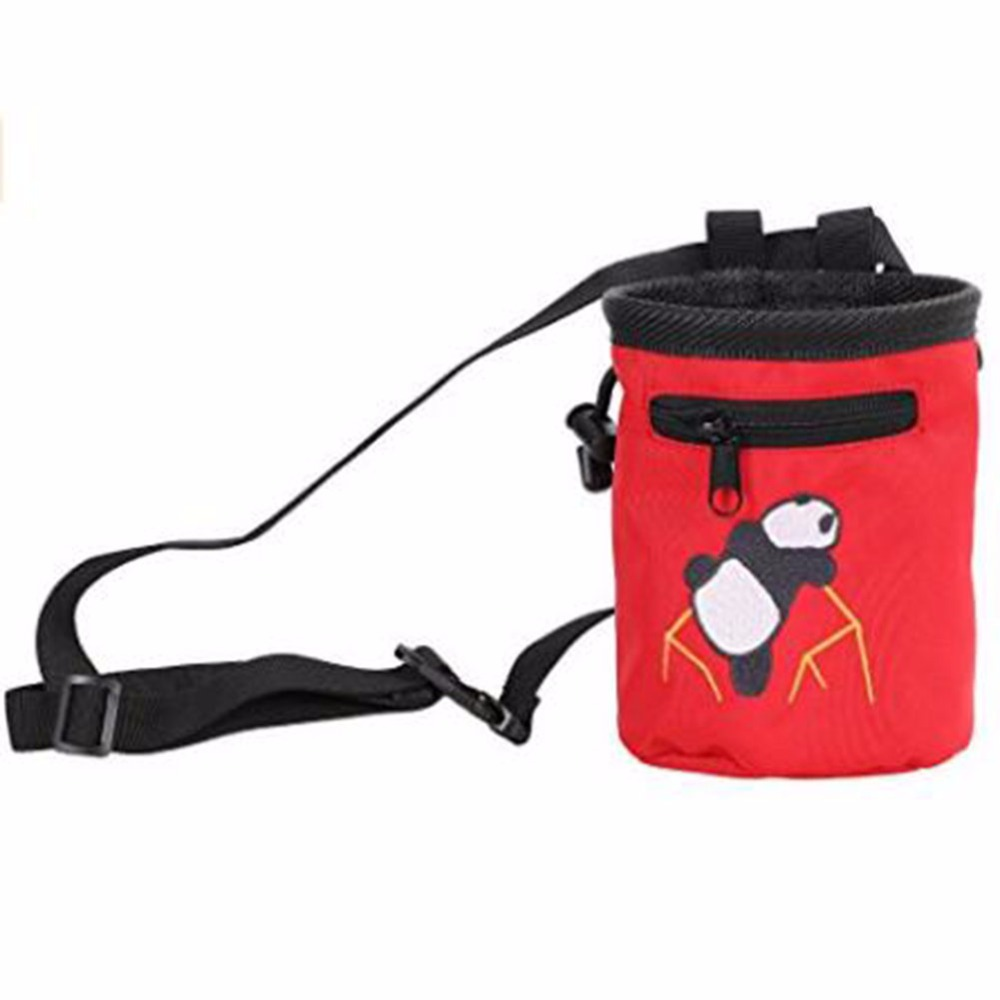 Red Nylon Rock Climbing Embroidered Chalk Bag