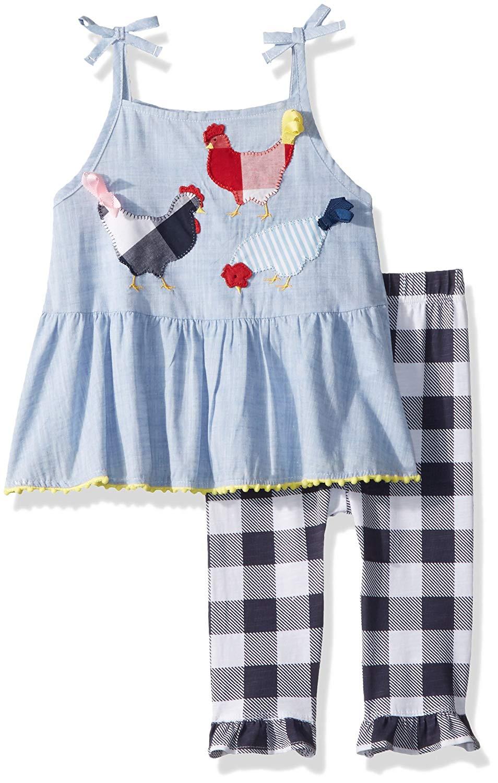 8097337b07 Get Quotations · Mud Pie Baby Girls Farm Chambray Sleeveless Tunic and  Capri 2 Pc Playwear Set