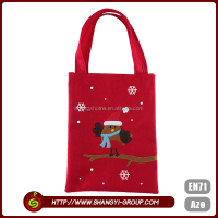 Christmas polyester felt fabric wholesale cheap red tote shopping bag