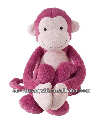 stuffed plush organic cotton pink stuffed monkey