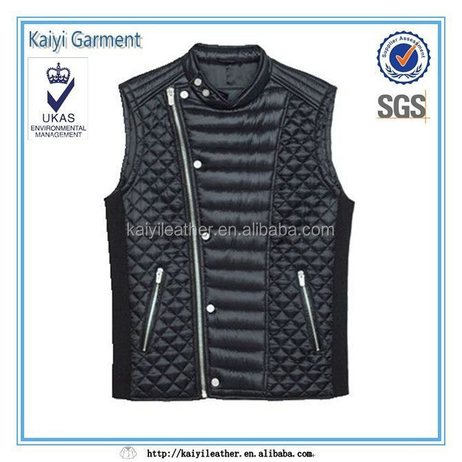 hot sale sleeveless winter stud diamond quilted men's leather vest
