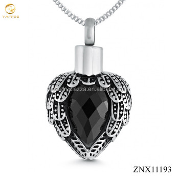 Cremation Ashes Locket, Personalised Jewellery, Wing Heart with Black Cubic Zirconia 925 Sterling Silver Jewelry