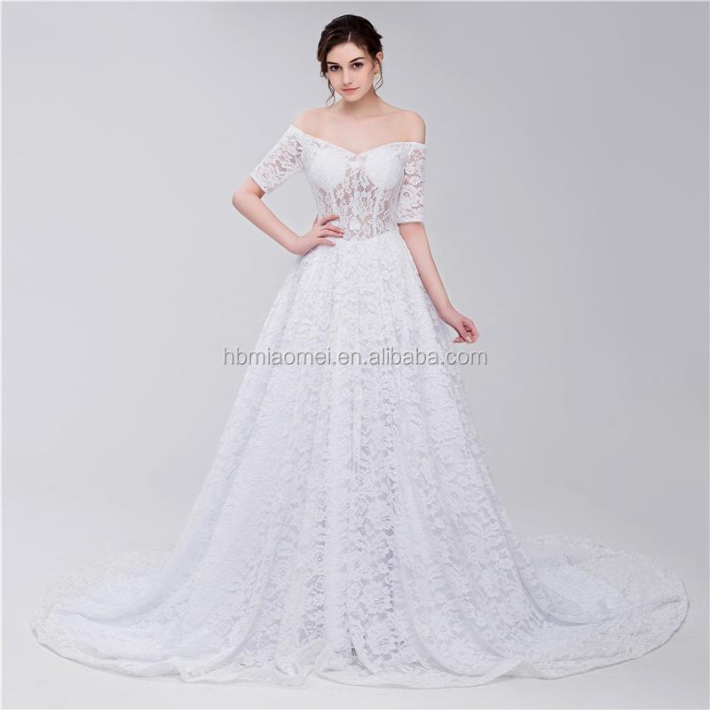 Bridal Scoop Neckline Off Shoulder Strapless Lace Elegant Muslim