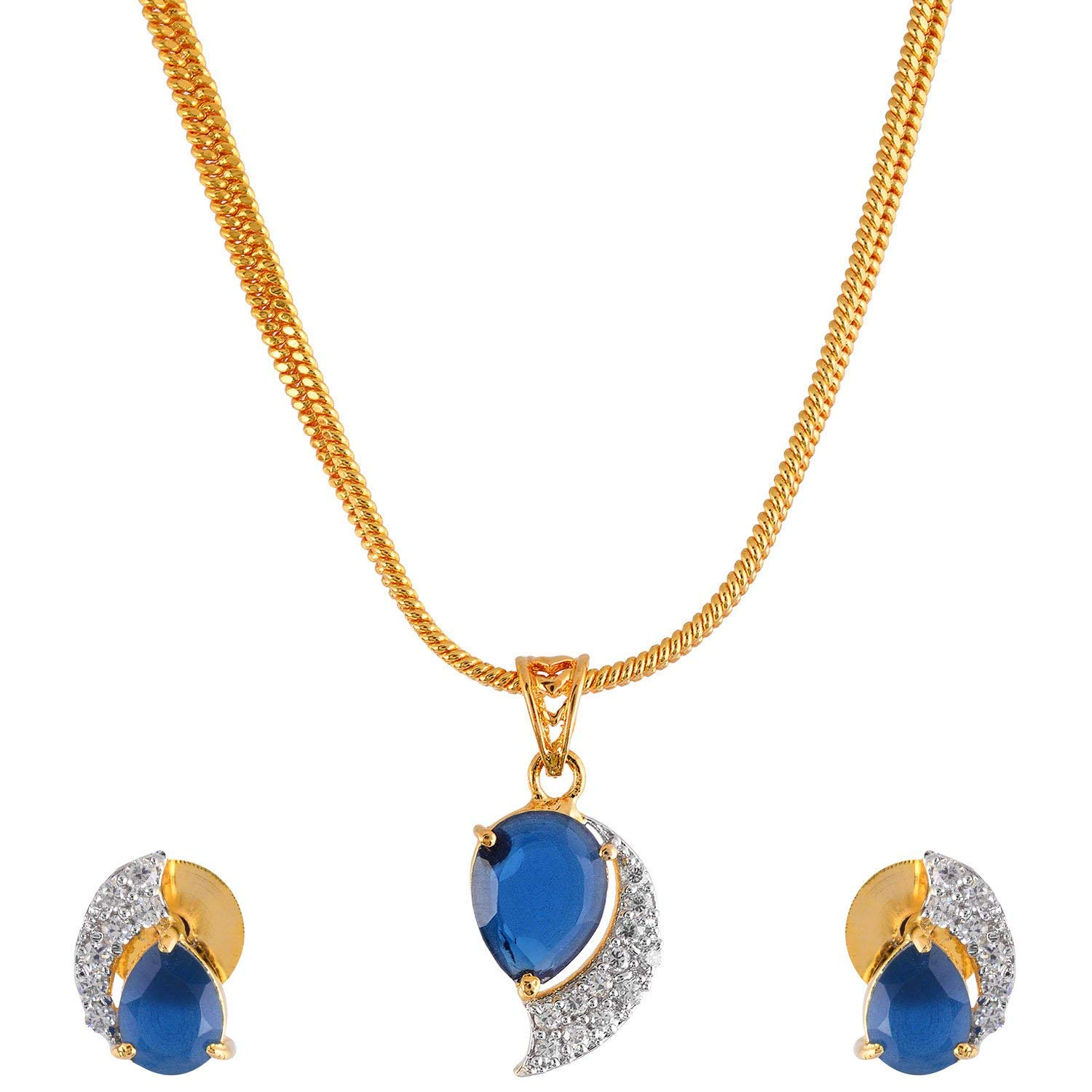 Handicraft Kottage Women's American Diamond Gold Plated Pendant Set with Chain