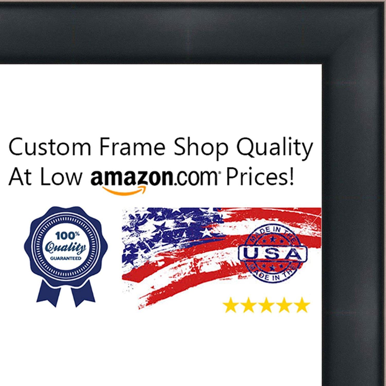 15x22 Contemporary Black Wood Shadow Box Frame - UV Acrylic, Acid Free Backing, & Hanging Hardware Included!