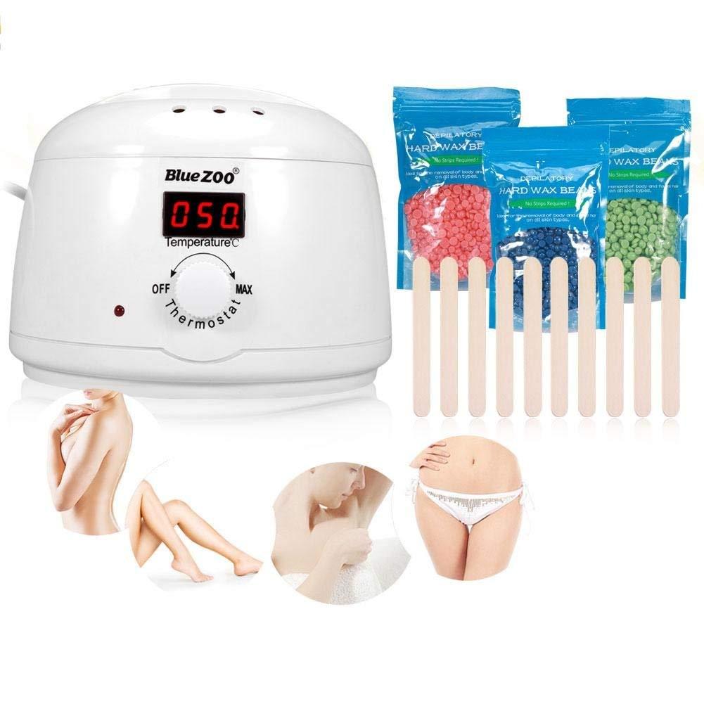 Wax Warmer, 500CC Digital Depilatory Hair Removal Warmer Wax Heater + 3Pack Hard Wax Beans + 10 Spatulas(White)