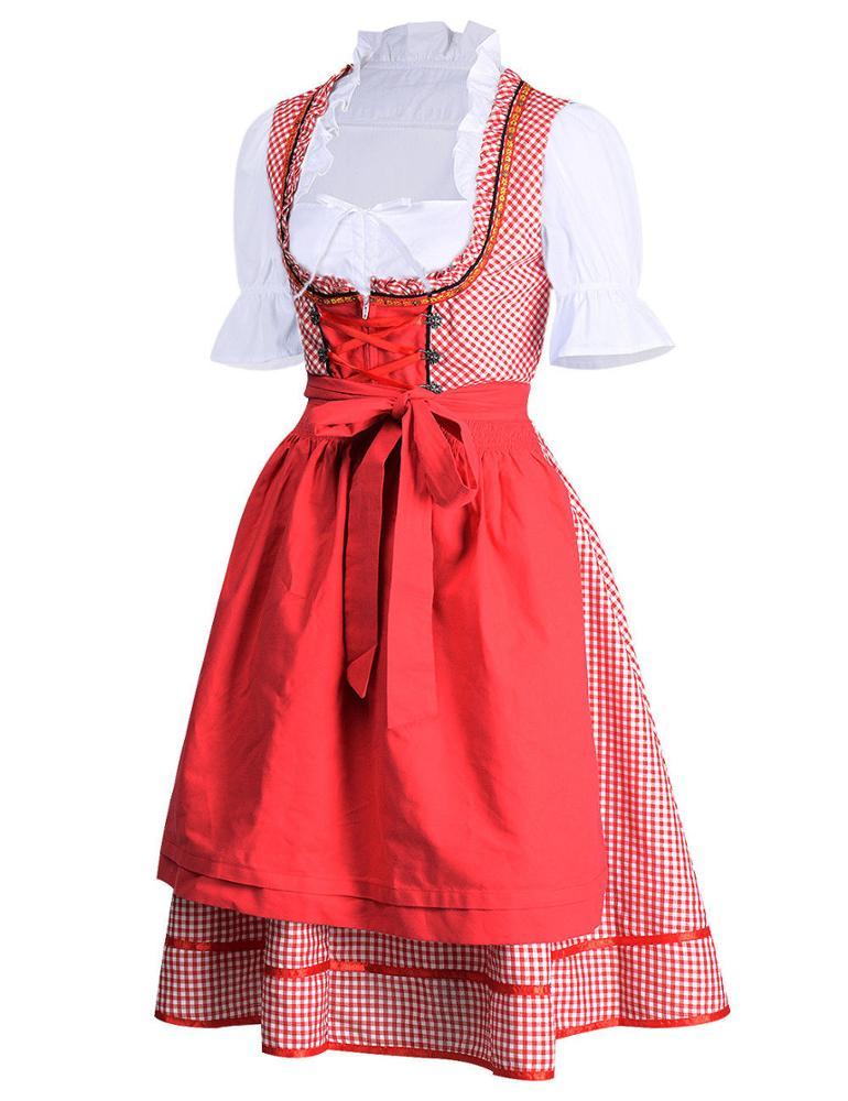 Cheers Traditional German Girls Oktoberfest Dirndl Fancy Dress Servants Costume#