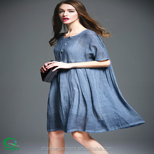 Fashion Women Short Sleeves Linen Loose Dresses