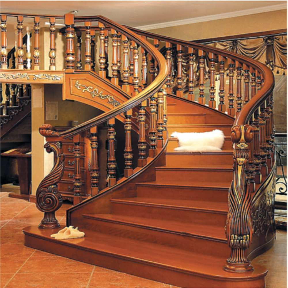 lujo interior madera escaleras de caracol con wroughtly tallado stringer
