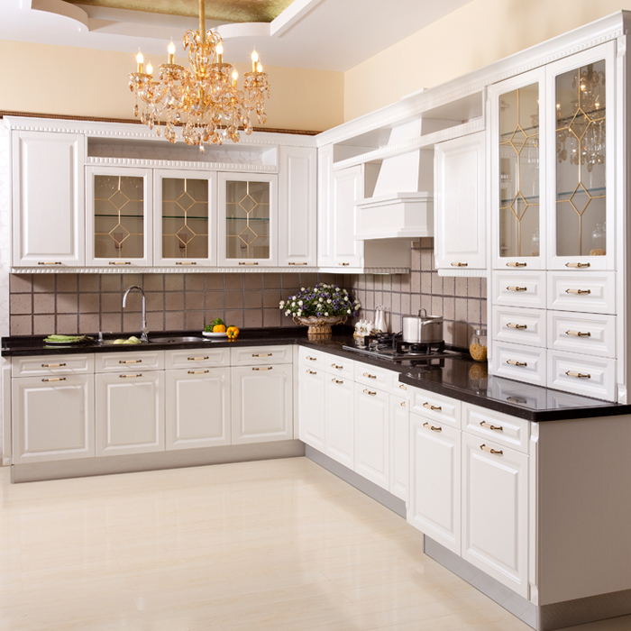 Wellmax Kitchen Accessories: White Golden Glass Door Usa Kitchen Cabinet