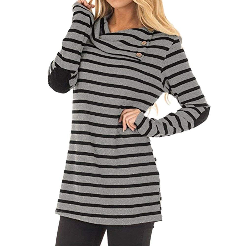 Womens Tops and Blouses Clearance Women's Casual Striped Turn-Down Collar Long Sleeve Sweatshirt Tops Blouse