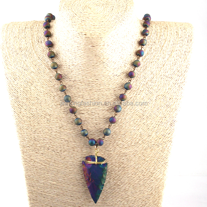 Fashion Rosary Chain Necklace Natural Agate Druzy Beads Necklace Stone Arrowhead Pendant Necklaces