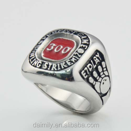 Daimily 316 L stainless steel Custom Sport Men's Bowling GAME Achievement Rings Gothic style Jewelry
