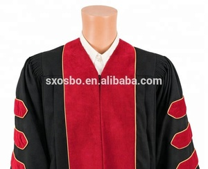 High Quality College University Black And Red Cap Doctoral Graduation Gown