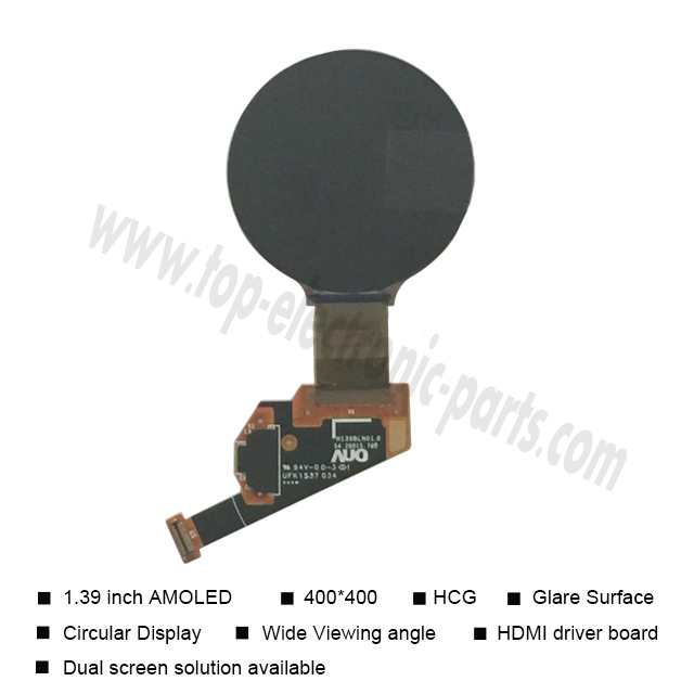 double sided small size amoled no bezel wearable tft thin monitor circular module mini round 1.39-inch lcd display screen