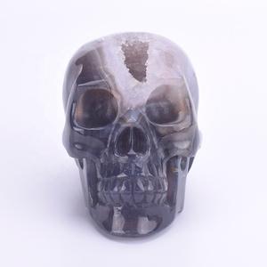 100% Natural Wholesale Hand Carved Crystal Geode Skull