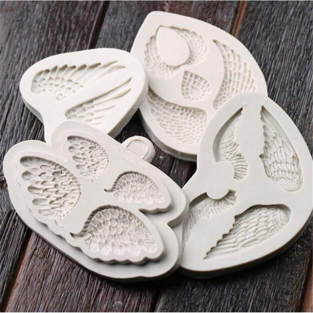 4 Piece Angel wings Silicone Mold Fondant Mould Cake Decorating Tools Chocolate Gumpaste Molds, Sugarcraft Soap Candy Making Mould Non-stick Bakeware Mould, DIY Craft Art Mold Decoration Baking Tools