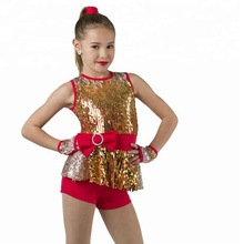 Meisjes gold sequin rode spandex <span class=keywords><strong>shorts</strong></span> jazz en tap dance wear/kostuums