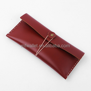 Real Leather Pen Pencil Pouch Container College Students Gift