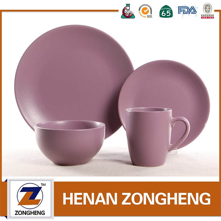 16piece stoneware matt purple color dinner set