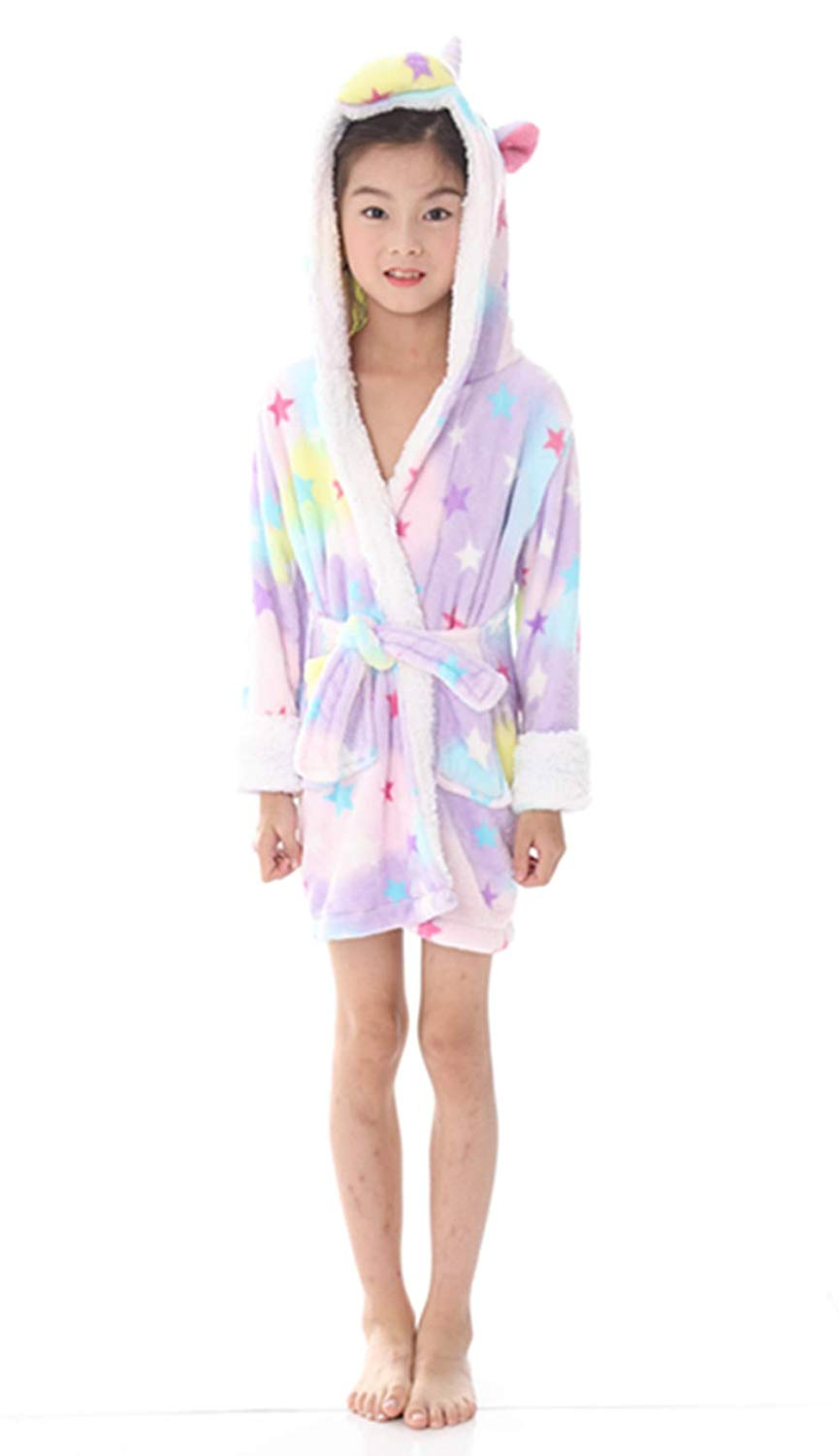 727243dab1 Get Quotations · Kids Bathrobe Unicorn Pajamas Sleepwear Boys Girls Hooded Robe  Loungewear