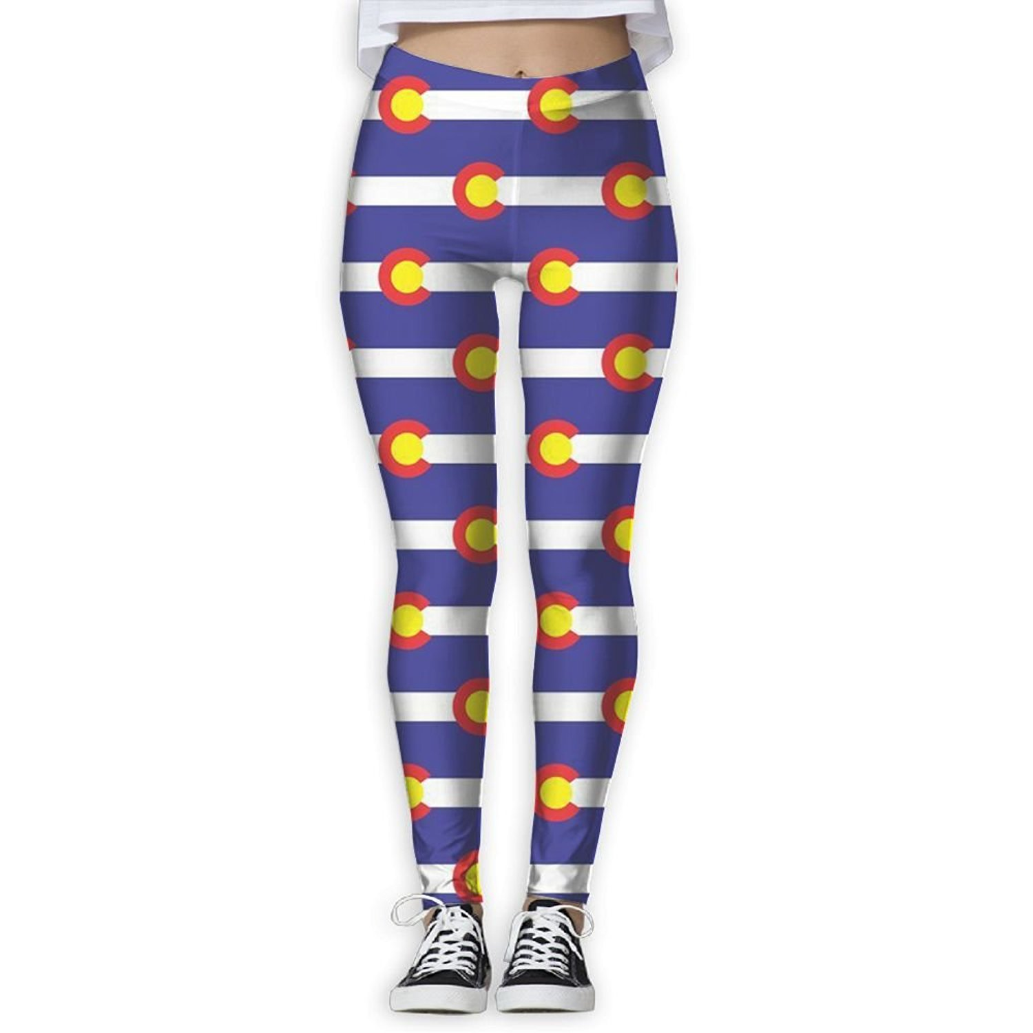 fe2f840df1 Get Quotations · KUKUUU Colorado Flag Ladies Stretchy Yoga Pants Ankle  Leggings Outdoor Tight Pants
