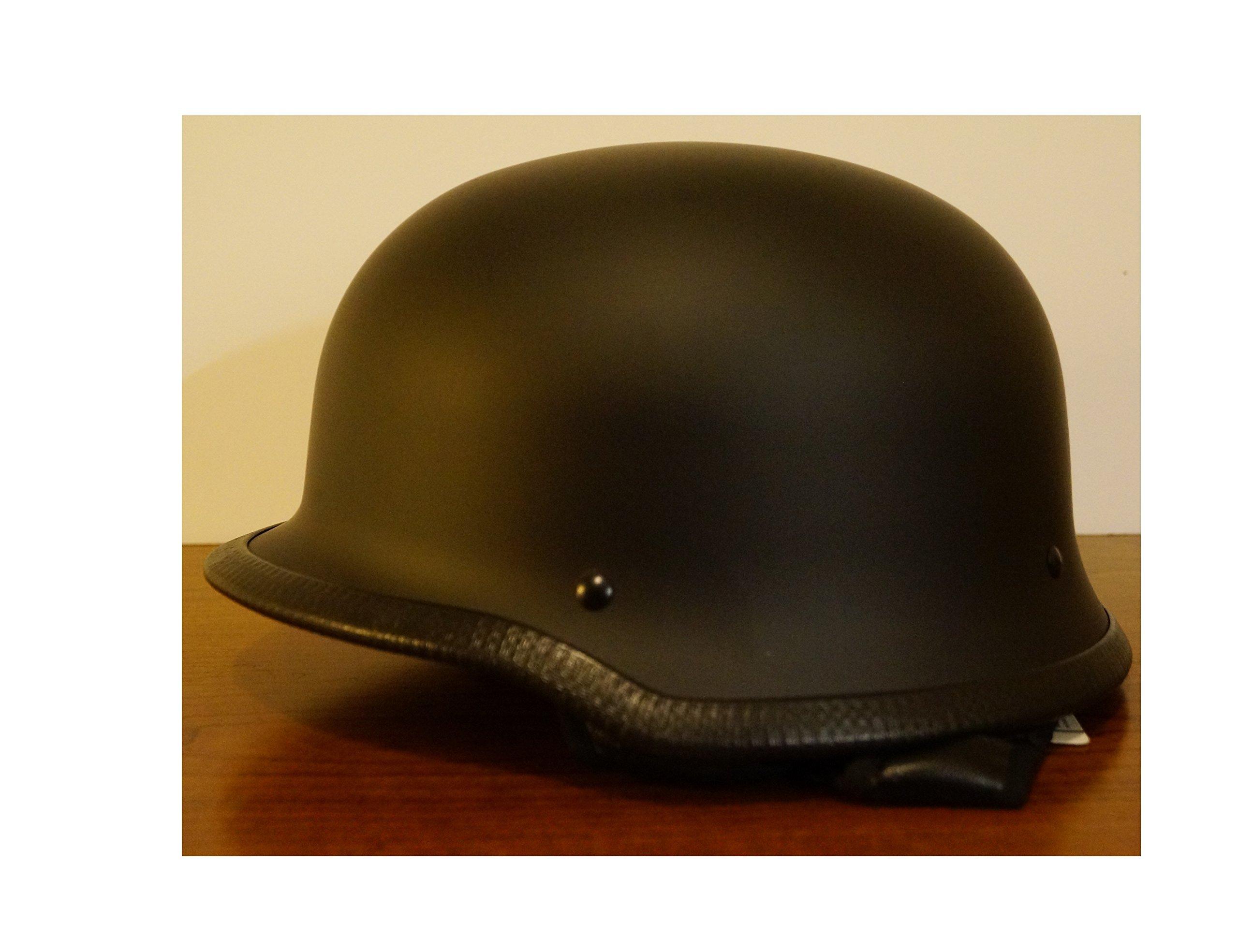 dde92aa29e5 Get Quotations · Motorcycle Dot Matte Black German Half Face Helmet Chopper  Cruiser Biker L