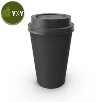 100% Biodegradable PLA Black Paper Coffee Cup With Pla Lid