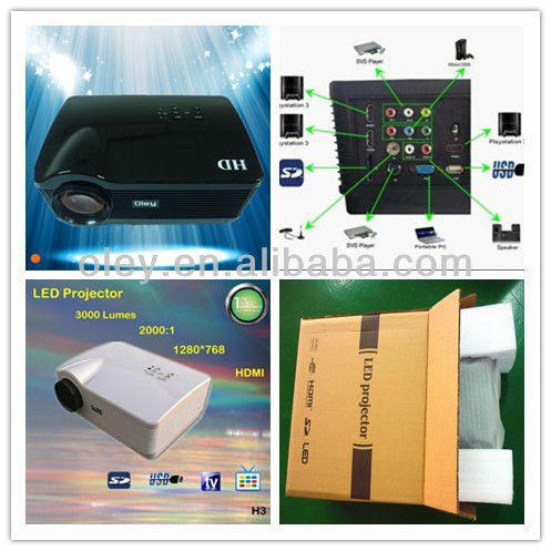 3*hdmi led projector with 3000 high lumens 1280*768 usb/sd