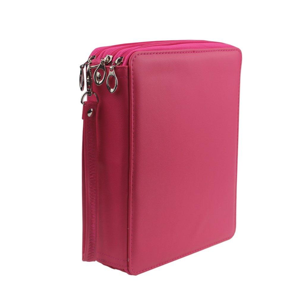 Pshine Large 120 Slots Colored Pencil holder- Pencil Case-Pencil bag-Pencil pouch-Pencil wrap with Zipper(Rose Red)