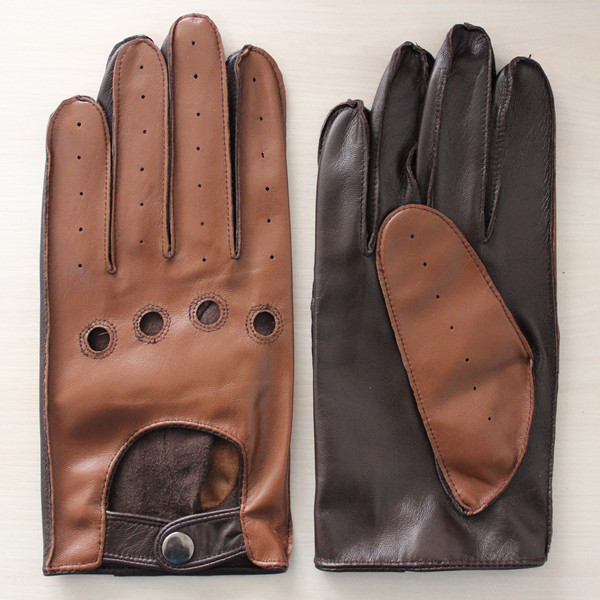 brown back black palm men wearing fashion new style driving leather glove