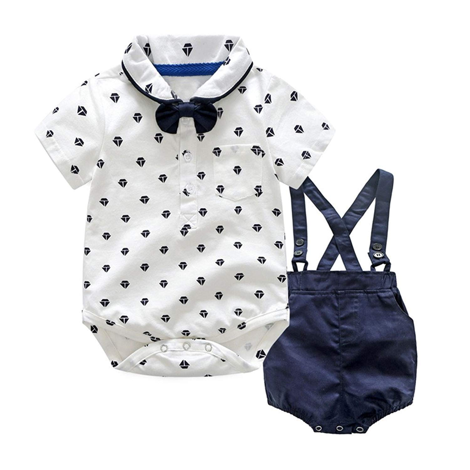 411d942347d3 Get Quotations · Moyikiss Studio Baby Boys Gentleman Outfits Suits Short  Sleeve Romper Tops+Bib Shorts+Bow