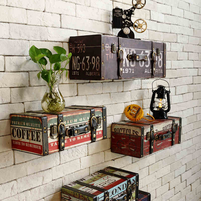 vintage pu luggage leather suitcase painting ktv bar decorative painting wall decoration in. Black Bedroom Furniture Sets. Home Design Ideas