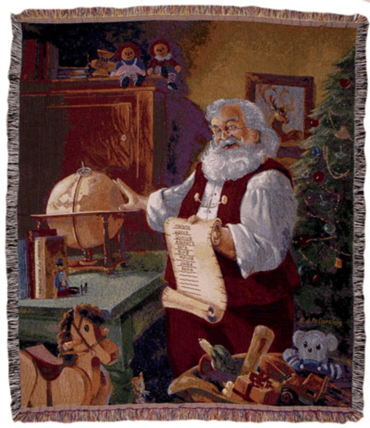 """Simply Home Santa Checking Christmas List Holiday Tapestry Throw Blanket 50"""" x 60"""""""
