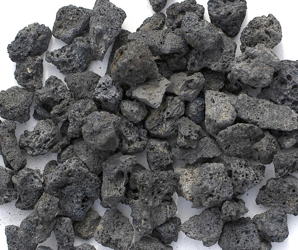 """Black Lava Rocks for Gas Fire Pit, 1 Cu Ft, (approx. 35 lbs). Naturally Formed Lava Mined in the USA. Varies In Size From 1/2"""" to 1 1/2"""""""