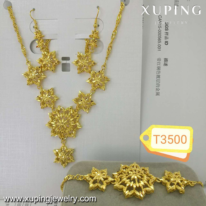 xuping wedding accessories 23ct gold jewellery set