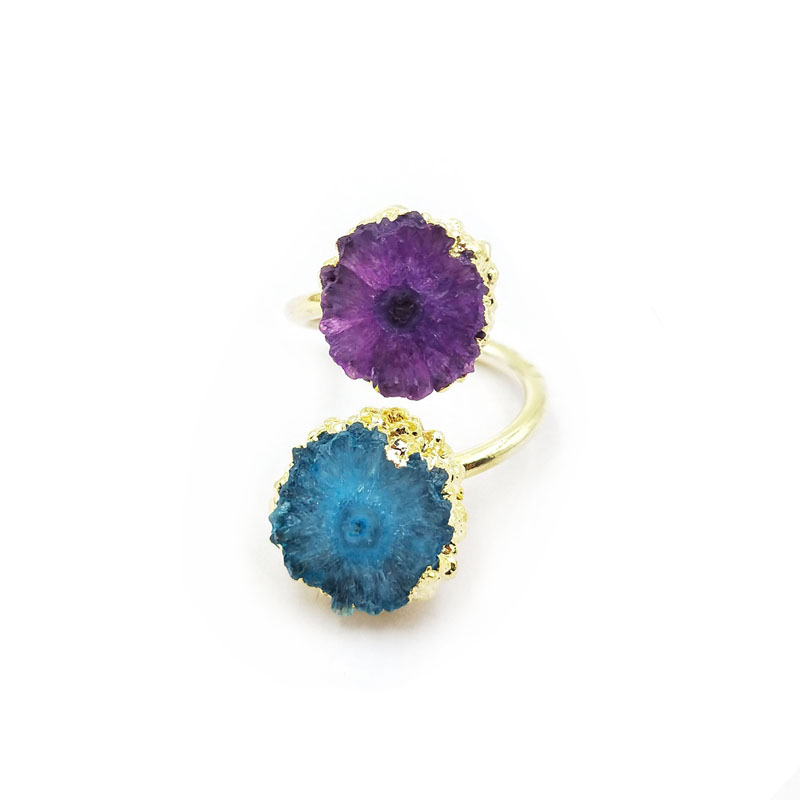 Adjustable Natural Gold Plated Adjustable Ring Double Drusy Geode Druzy Jewelry Two Stones Flower Solar Rings
