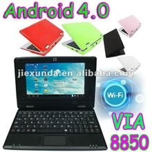 7inch via8850 android4.0 os 1G/4GB web camera, external 3G mini laptop