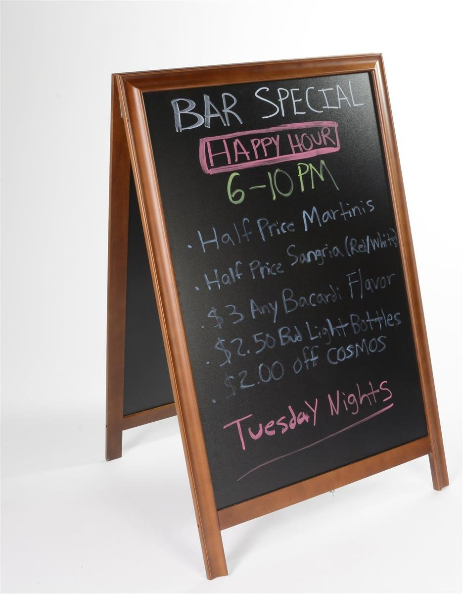 "Write-on Sandwich Board for Wet and Dry-erase Markers, 2-sided A-frame Sidewalk Sign with (2) 24"" x 36"" Black Boards, Dark Brown Wood Frame"