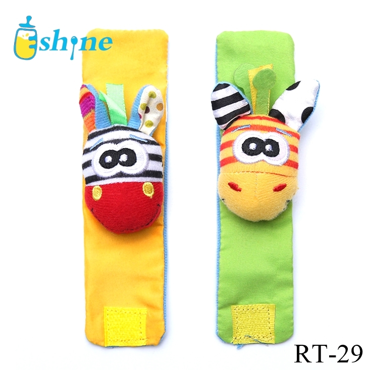 Educational Development Soft Animal Toy Baby Foot Finder Sock and Wrist Rattle