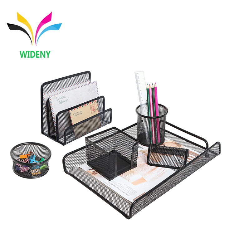 Wideny 5 stuks mesh metalen bureau set kantoor school kids bureau tafel briefpapier set