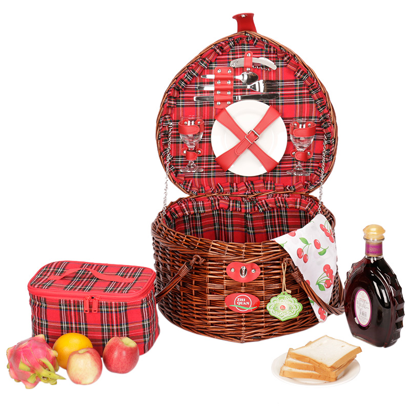 Romantic Valentine's Day Gift Basket sets for Two Love Design Wicker Picnic Basket