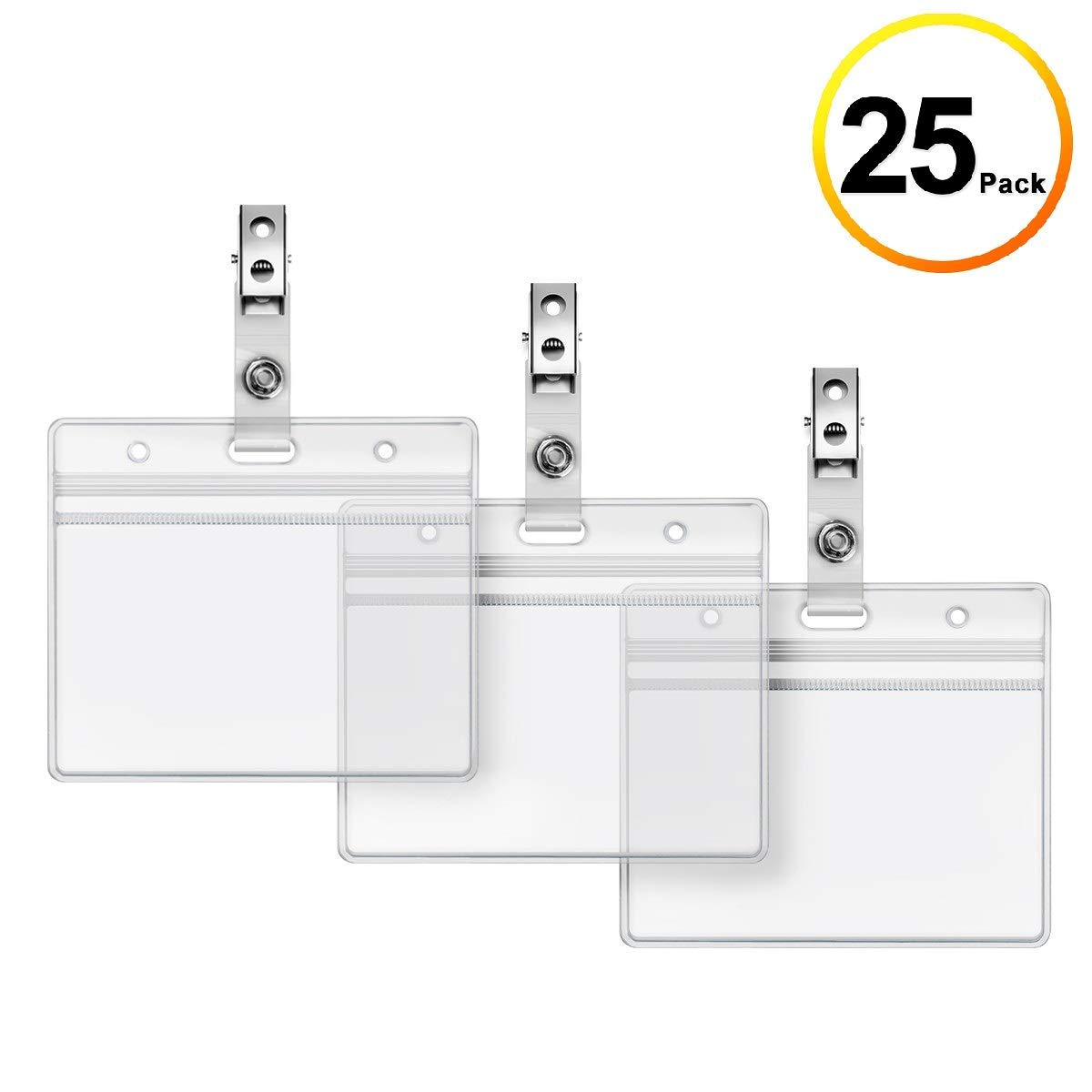 Just 3pcs Hard Plastic Double-faced Card Holder Transparent Clear Horizontal Id Badge Holders Card Cover Easy Access Thumb Notch Desk Accessories & Organizer Card Holder & Note Holder