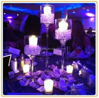 long stemmed glass votive candle stand/votive glass candle holder stand/set of 3 glass candle holder