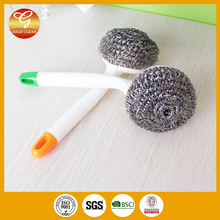 Kitchen cleaning stainless steel pan scourer with handle