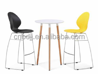 Modern Colorful Kitchen Stackable High Back Plastic Bar Chair High Stool  With Foot Rest And Table