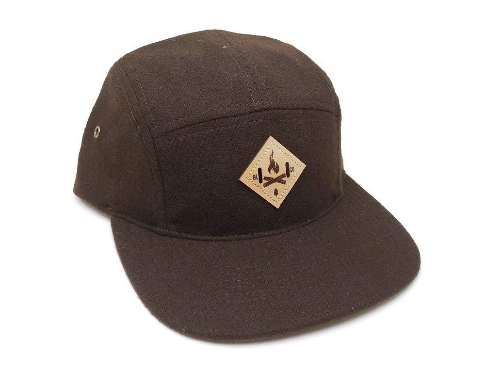 4eb8ee34 Get Quotations · Outdoorsman Hat - Bonfire Leather Patch - 5 Panel Melton  Wool Camper Hat